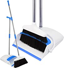 Broom and Dustpan Set – Strongest 30% Heavier Duty – Upright Standing Dust..
