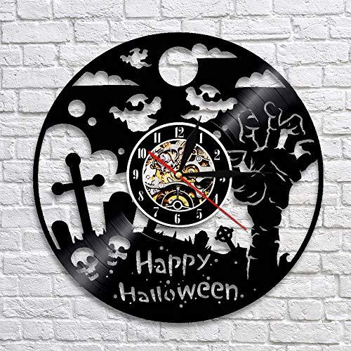 UIOLK Feliz Halloween Decoración Reloj de Pared Negro Decoración de Terror Disco de Vinilo Arte de la Pared Reloj de Pared silencioso