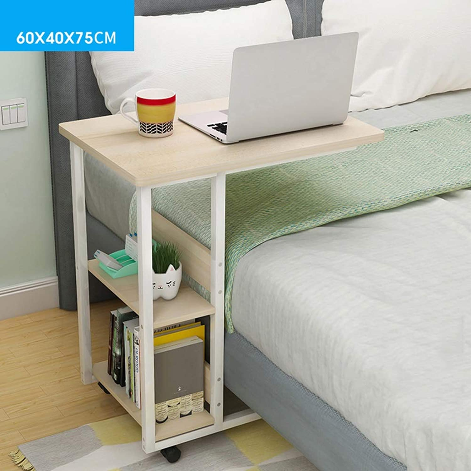 Coffee Table Side Table, Laptop Table It Can Move Multifunction Simple Desk Lazy Bedside Table, Dorm Room, Balcony (color   White Maple, Size   60  40 cm)