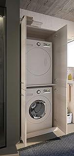 Dafne Italian Design Meuble à laver, porte machine à laver, chêne clair, dimensions colonne L 70 x P 62 cm