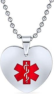 Bling Jewelry Personalizza la Collana Personalizzabile per l'identificazione Medica ID Cuore del Cane, Etichetta Pendente ...