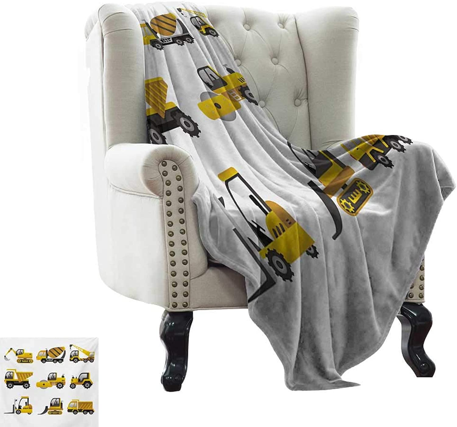 Couch Blanket Construction,Big Vehicles Icon Collection Engineering Building Theme Clip Art Style,Yellow Grey White Weighted Blanket for Adults Kids, Better Deeper Sleep 50 x60