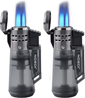 Butane Torch Cigar Lighter 3 Jet Flame Cigarette Lighter with Visible Gas Tank, Butane Refillable (2 Pack)