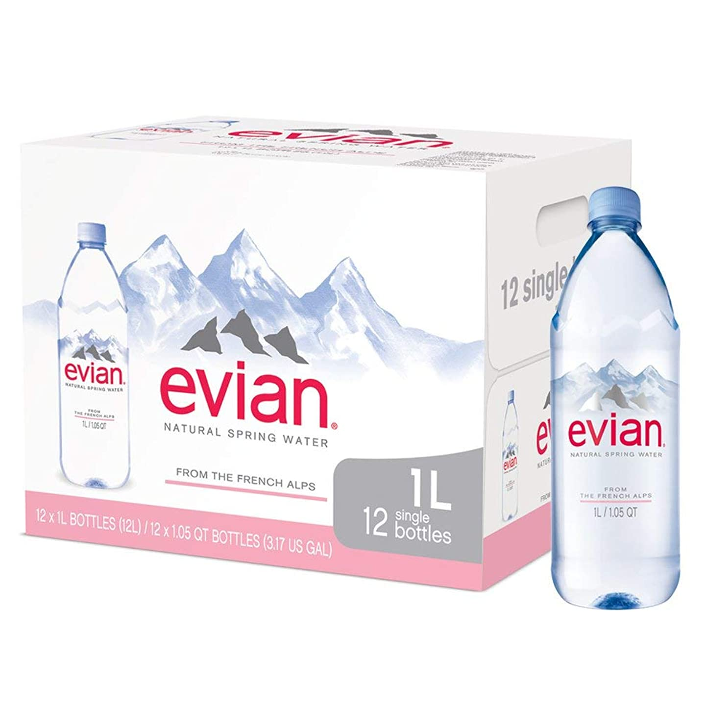 Natural Spring Water One Case of 12 Individual 1 Liter 33.8 Ounce Large Bottles, Naturally Filtered Spring Water in Large Bottles (2 Cases of 12)