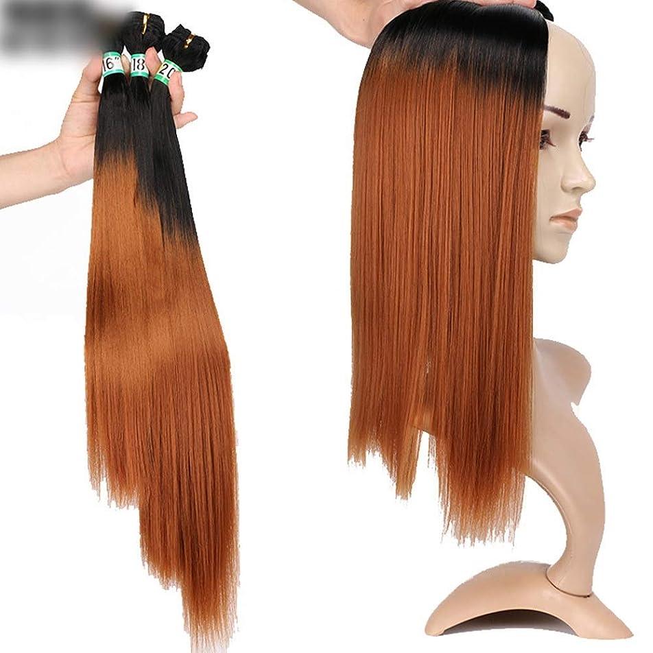 サイクル成熟した看板BOBIDYEE ブラジルのストレートヘア3バンドルヘアエクステンション - T1 / 30ブラウンツートンカラーナチュラル探しロールプレイングウィッグキャップ (色 : ブラウン, サイズ : 16