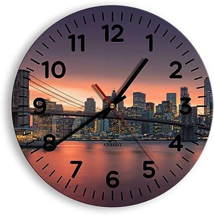 Pret a accrocher Horloge en Verre 2719 Pendule murales D/écoration Carr/ée 30x30cm C1AC30x30-2719 M/écanisme d/écoulement Silencieux Moderne Horloge Murale prete a Suspendre
