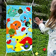 PANTIDE Pikachu Toss Games with 4 Bean Bags, Pikachu Indoor Outdoor Throwing Game Party Supplies for Kids and Adults, Carnival Games Toss Games Banner for Pikachu Theme Birthday Party Decoration