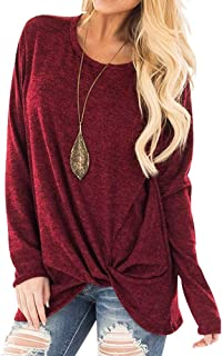 DaySeventh Womens Casual Soft Long Sleeves O Neck Knot Side Twist Blouse Top T-Shirt