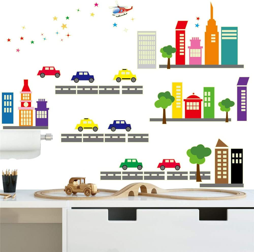 ufengke Glow in The Dark Buildings Cityscape Stickers Max 73% OFF Wall Cars Brand Cheap Sale Venue