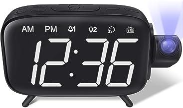 ساعة منبه لإسقاط الشاشة بشاشة عرض LED رقمية لشحن ضوء رقمي كبير مع منبه راديو FM وقيلولة من شركة إيليهوت