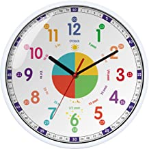 Time Teacher Wall Clock Learn to Tell The Time Wall Clock Colorfull Non Ticking for Kids,Girls,Boys Classroom,Bedroom,Livi...