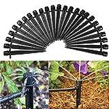 MINGZE 50 piezas Kit de riego por goteo de 360 grados, 13cm Emisores de goteo regulables negros Sistema de flujo micro Sistema de riego de manguera de jardín de la planta del uno mism