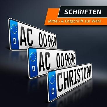 Schildevo 1 Kfz Kennzeichen 520 X 110 Mm Din Zertifiziert Individuelles Eu Wunschkennzeichen Pkw Nummernschild Autokennzeichen Auto Schild Fahrradträger Anhänger Dhl Versand Auto