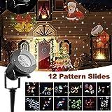 Projecteur LED Mouvement Flocon de Neige Lumineux, Lumiere Decoration de Projecteur Pere Noel Exterieur, Projecteur...