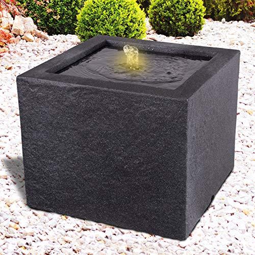 Gartenbrunnen Brunnen Zierbrunnen Zimmerbrunnen Springbrunnen Brunnen mit LED-Licht 230V Wasserfall Wasserspiel für Garten, Gartenteich, Terrasse, Balkon Sehr Dekorativ (BASALT MODERNA)