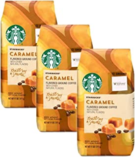Starbucks Buttery & Smooth Caramel Flavored Light Roast Ground Coffee Bulk Pack of 3 Bags - 11 oz Per Bag - 33 oz Total