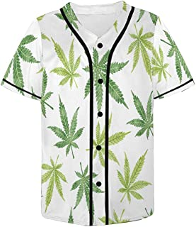 InterestPrint Watercolor Cannabis Marijuana Leaves Baseball Jersey T-Shirt for Men