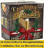 Kalea Bier Adventkalender, 24 österreichische Bier-Spezialitäten & 1 Verkostungs Glas, perfekte Geschenksidee für Männer