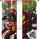 """Iron Man Capitan America Hulk Avengers cartone animato arte termoisolato Grommet Tende oscuranti per camera da letto 170 """"L x 220 """"L"""