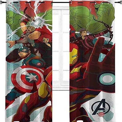 Iron Man Capitán América Hulk Avengers - Cortinas opacas con ojales para dormitorio, aislamiento térmico, cortinas de oscurecimiento para sala de estar, 137 cm de ancho x 213 cm de largo