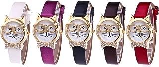 Doinshop Women Analog Quartz Dial Wrist Watch Cute Glasses Cat Décor Wholesale Pack 5