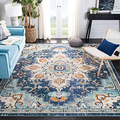 Safavieh Madison Collection MAD473M Boho Chic Medallion Distressed Non-Shedding Living Room Bedroom Dining Home Office Area Rug, 5'3' x 7'6', Blue / Light Blue