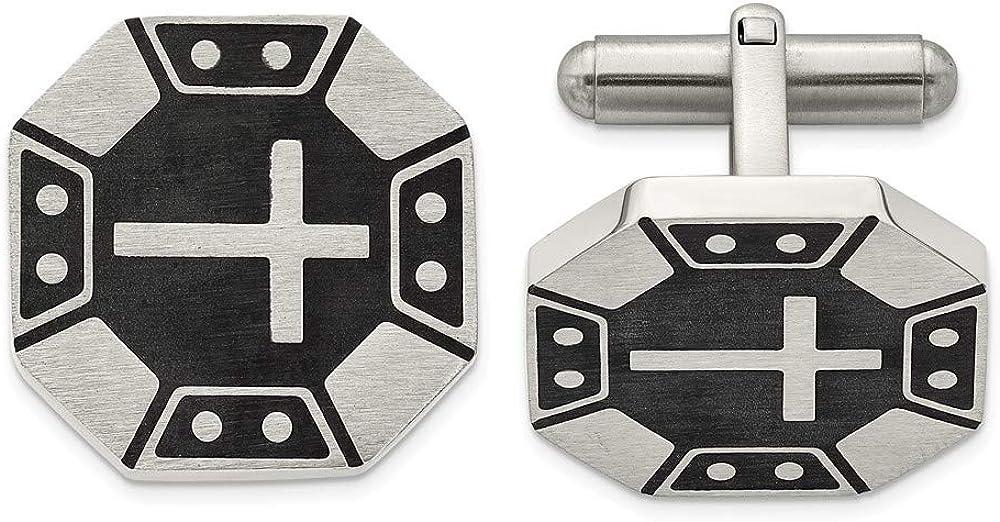 Stainless Steel Matte Black IP-Plated Cross Cufflinks