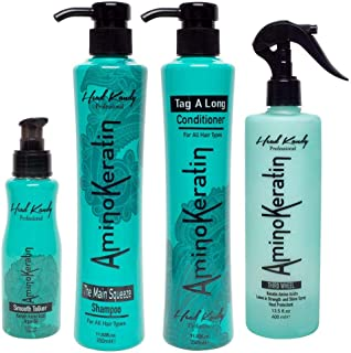 Full Squad Complete Hair Care System for Sexy and Healthy Hair (12 oz) - Powerful Combo of Keratin and Argan Oil to Revive Damaged Hair - Includes The Main Squeeze, Tag a Long, Third Wheel and Smooth