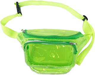 LYB FASHION Translucent Holographic Fanny Pack Solid Color Waist Polyurethane (Clear Green 005S)