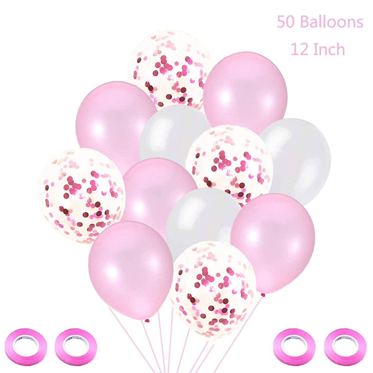 Juland 50 Pieces Latex Pink Balloons Pink Confetti Helium Balloons Party Decorative Balloons with 4 Pink Rolls Ribbons for Baby Shower Party Wedding Birthday Decoration Bachelorette Party Balloons