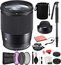 $410 » Sigma 16mm f/1.4 DC DN Contemporary Lens for Sony E Mount (402965) with Bundle Package Deal Kit Includes: Pro Series Monopod, 3PC Filter Kit + More