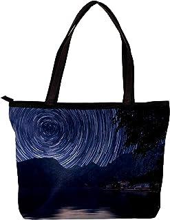 LORVIES - Borsa a tracolla da donna, con motivo paesaggio naturale della galassia