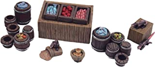 War World Gaming Fantasy Village Street Market Stall and Barrels Set – 28mm Medieval Wargaming Terrain Model Scenery