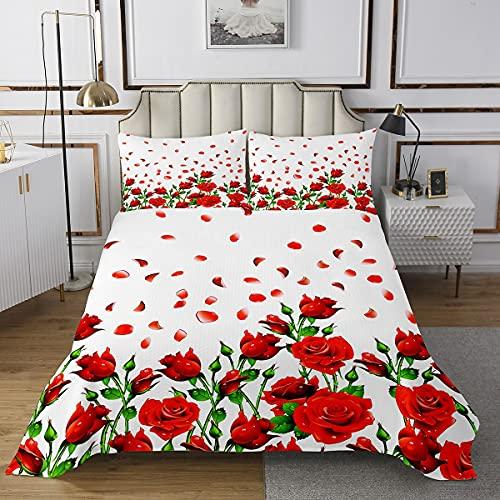 Loussiesd Juego de colcha de rosas 3D para niñas y niñas, con diseño floral, para adolescentes, mujeres, con flores románticas, acolchado, color rojo, blanco, funda de cama doble