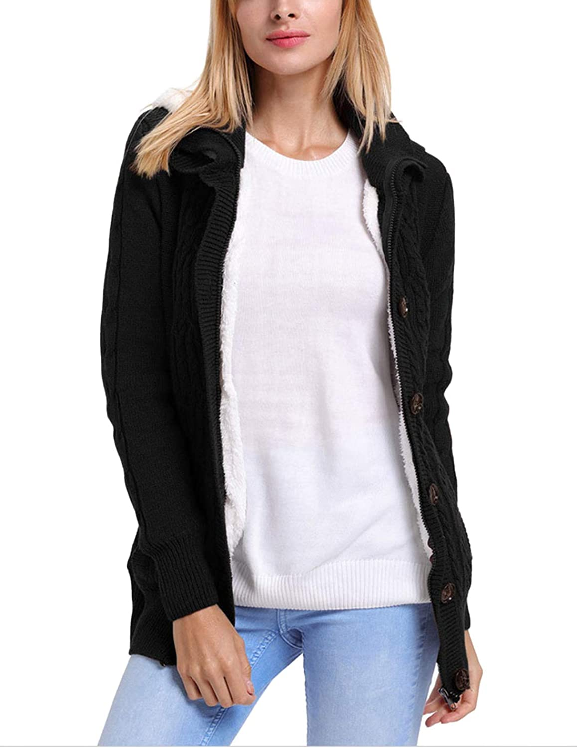 Yeokou Women's Casual Mid Long Sherpa Lined Button Up Hooded Cardigan Sweaters