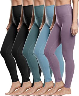 YOLIX 5 Pack Womens Leggings-Non See-Through High Waisted Tummy Control Yoga Pants for Workout Running -Reg&Plus Size