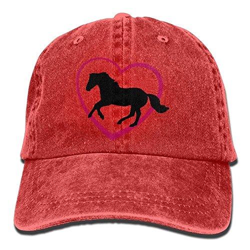 Elsaone Unisex Galoppierendes Pferd Herz Baumwolle Denim Baseball Cap Einstellbare Gletscherkappe Männer Frauen