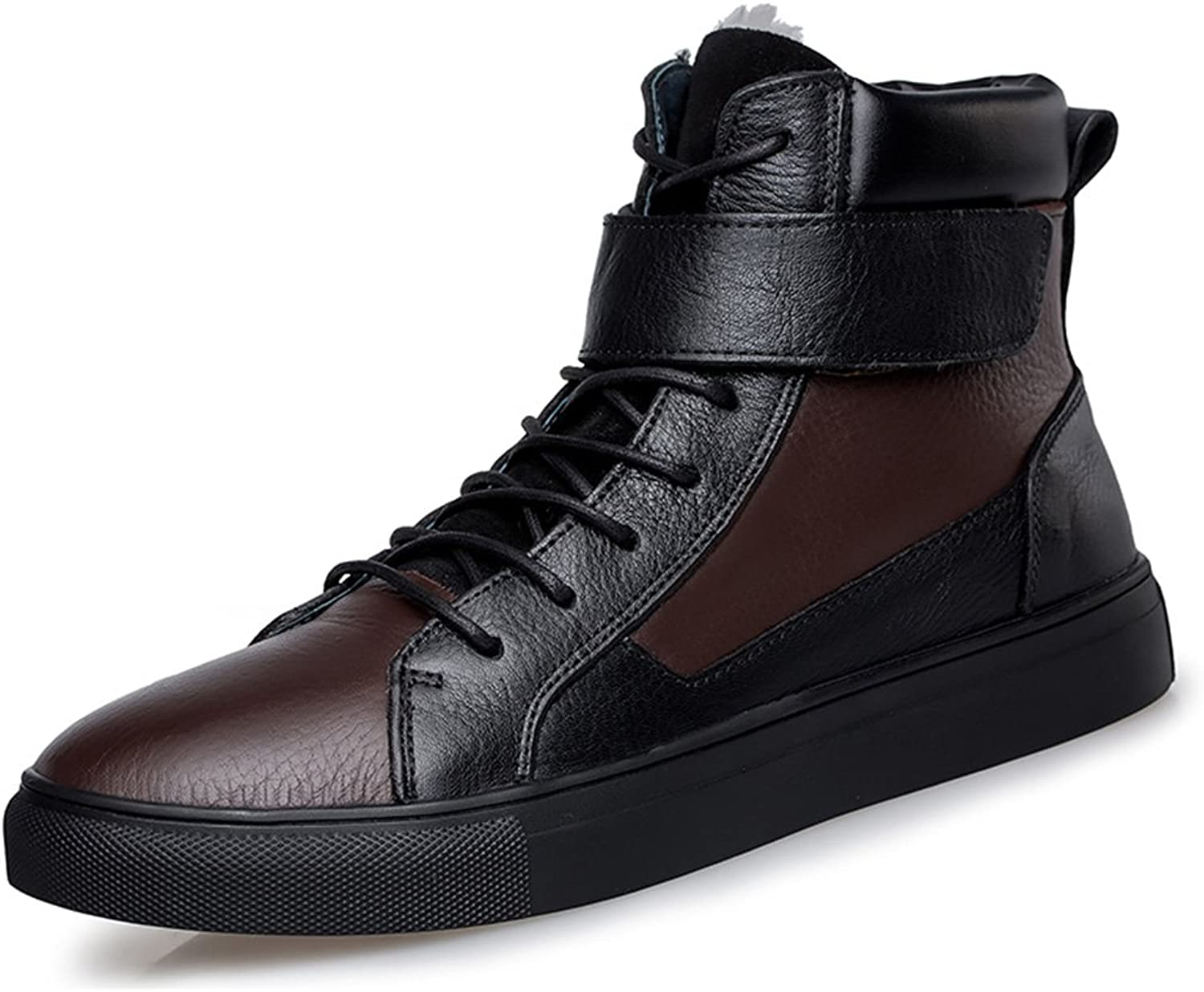 Goorape Men's Winter High Top Fur Lined Casual Leather Sneakers With Velcro Strap Warm Snow Ankle Boots