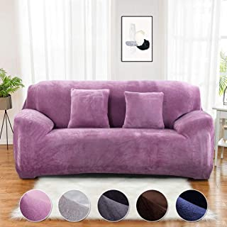 Sinoeem - Funda para sofá de 1 2 3 4 plazas, Color Puro, Funda Protectora de Terciopelo de fácil Ajuste, Tela elástica, Lavable a máquina, Sofá-Morado, 2 Seater:145-185cm