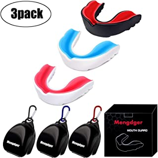 Mengdger Youth Mouth Guard Football Moldable MouthGuard Sports Kids Boys Mouthpiece Teeth Protective Braces EVA Double Col...