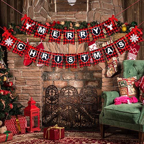 Banner de Merry Christmas con 4 Arcos Rojos Cuadros de Búfalo Negro Rojo Copo de Nieve Reno Decoraciones de Patrones para Casa Fiesta Navidad Suministros de Decoración Colgante de Chimenea
