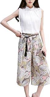 セットアップ トップス+パンツ 2点セット レディース 綿麻 ノースリーブ シャツ ワイドパンツ花柄 ファッション 上下