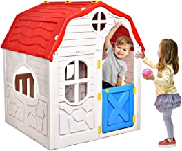 HONEY JOY Kids Outdoor Playhouse, Cottage Foldable Playhouse with Working Doors & Windows, Indoor Outdoor Plastic Cabin Pl...