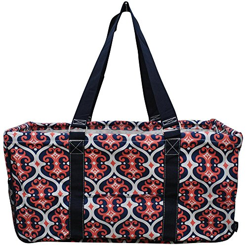 NGIL All Purpose Open Top 23' Classic Extra Large Utility Tote Bag Spring 2018 Collection (Classy Vine Navy), X-Large