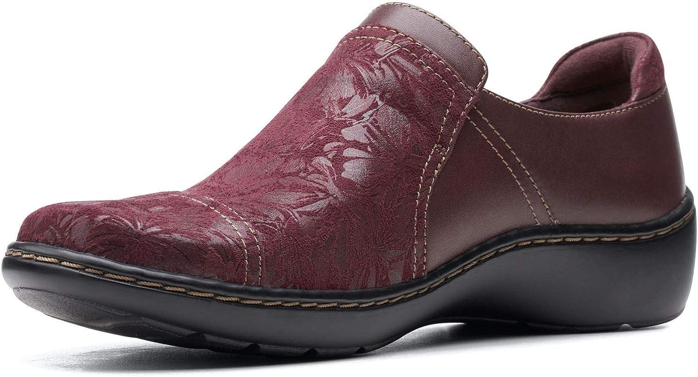 Clarks Cora スーパーセール期間限定 Poppy Burgundy Leather Combination 大人気 Textile