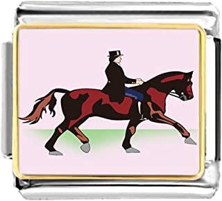 GiftJewelryShop Gold Plated Olympics Equestrian Rider with Horse Bracelet Link Photo Italian Charm