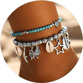FINETOO Blue Starfish Turtle Anklet Multilayer Charm...