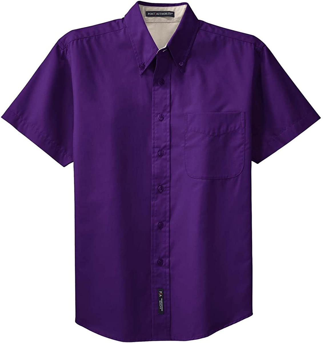Port Authority Men's Big Short-Sleeve Easy Care Dress Shirt - Purple/Light Stone S508 XL