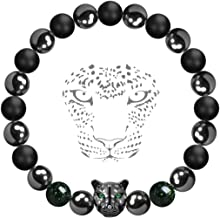 Karseer Black Panther Anxiety Bracelet, Magnetic Hematite and Onyx Natural Crystals Healing Stone Beads Energy Balance Bracelet Stress Relief Jewelry Gift for Men and Women