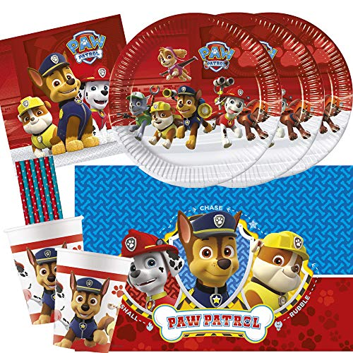 spielum 45-teiliges Party-Set Paw Patrol Ready for Action - Teller Pappbecher Servietten Tischdecke Trinkhalme für 8 Kinder